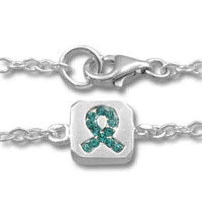 Ovarian Cancer Teal Ribbon Crystal Sterling Silver Bracelet
