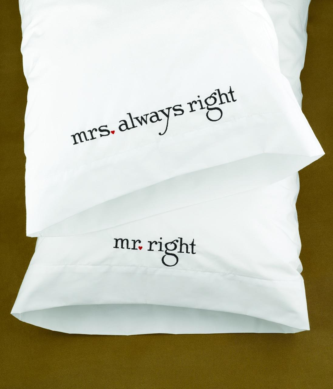 Wedding Gifts Mr And Mrs: Mr And Mrs Right Pillow Case Wedding Gift Set